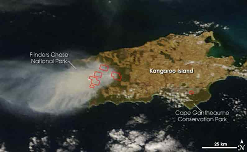 Kangaroo Island on fire some years ago - Your Missing Link