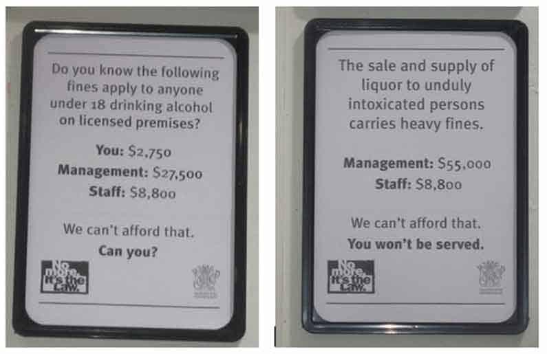 "Signs as seen by Henny Jensen in a bottle shop in Brisbane, Queensland, Australia. ""No more. It's the law."""